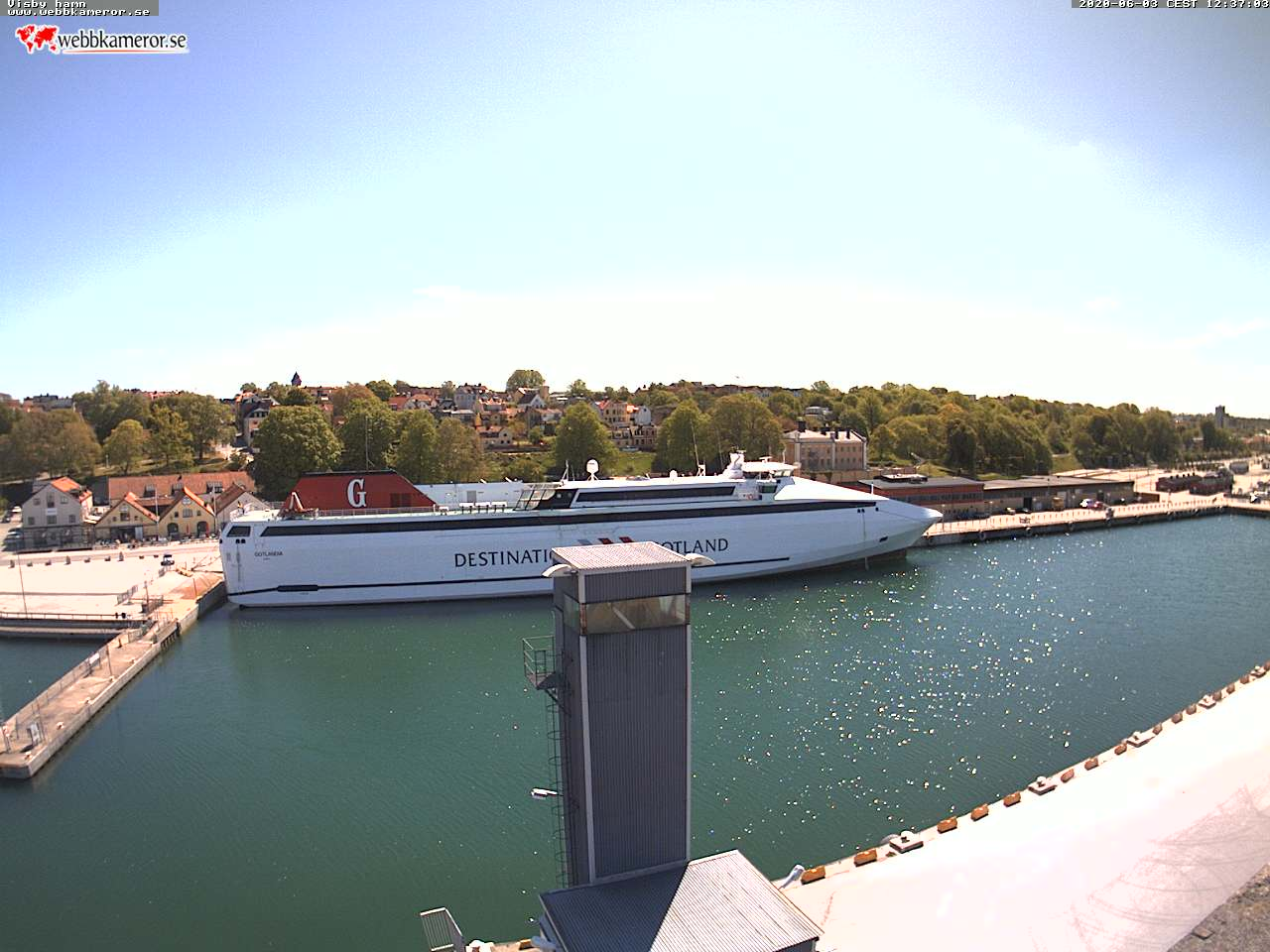 Webbkamera - Visby hamn, Skeppsbron, Färjeleden